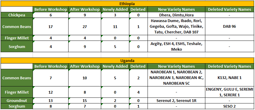 Number of varieties in the catalogue before the workshops in Ethiopia and Uganda and after new data was added by the participants.