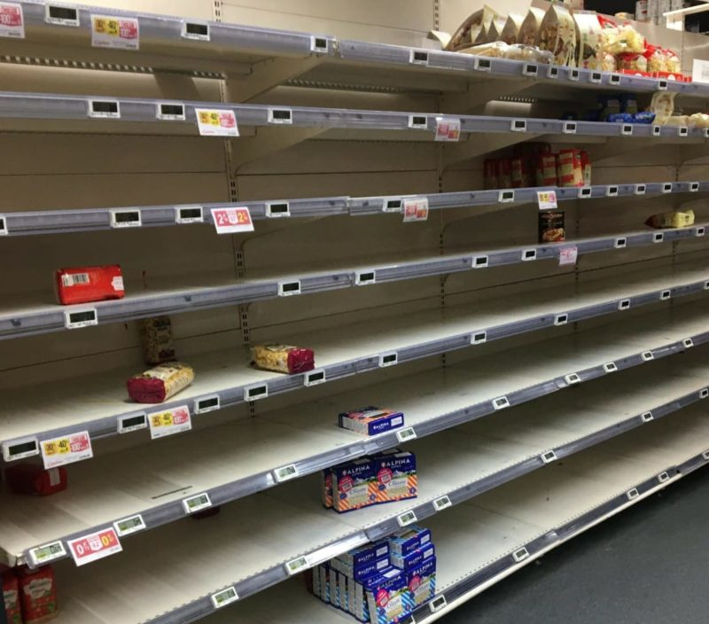 Shelves empty of pasta, rice, and toilet paper. Fresh produce, dairy, meat were restocked a day after, Monoprix, Avenue Jean Jaures, Paris, 18 March 2020 (Photo Credit: Ryan Buckley)
