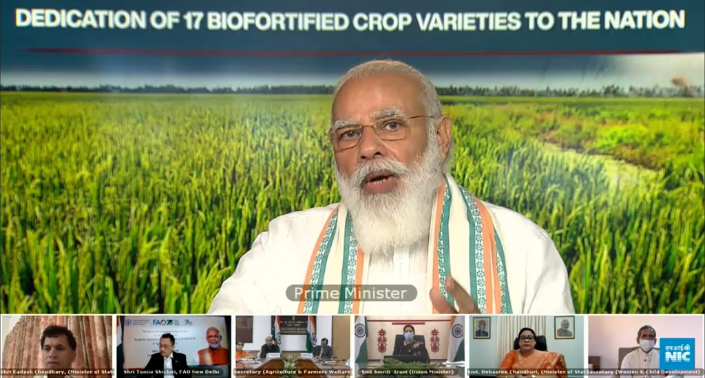 Indian PM Narendra Modi dedicates two 'healthy oil' groundnut varieties on World Food Day