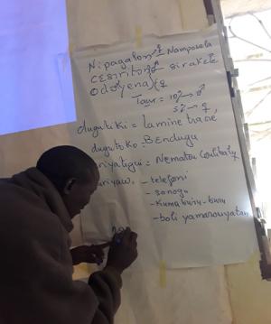 Trainer facilitating a training session. Photo credit: Benoit Goveyi, (Intern- ICRISAT Mali), December 2020